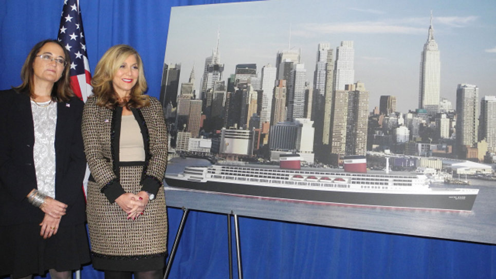 Susan Gibbs(L), executive director of the SS United States Conservancy, and Edie Rodriguez, President and Chief Executive Officer of Crystal Cruises and granddaughter of the ships designer, pose with an artist's rendering of the ship at a news conference February 4, 2016 in New York.                              / AFP / Brigitte DUSSEAU        (Photo credit should read BRIGITTE DUSSEAU/AFP/Getty Images)