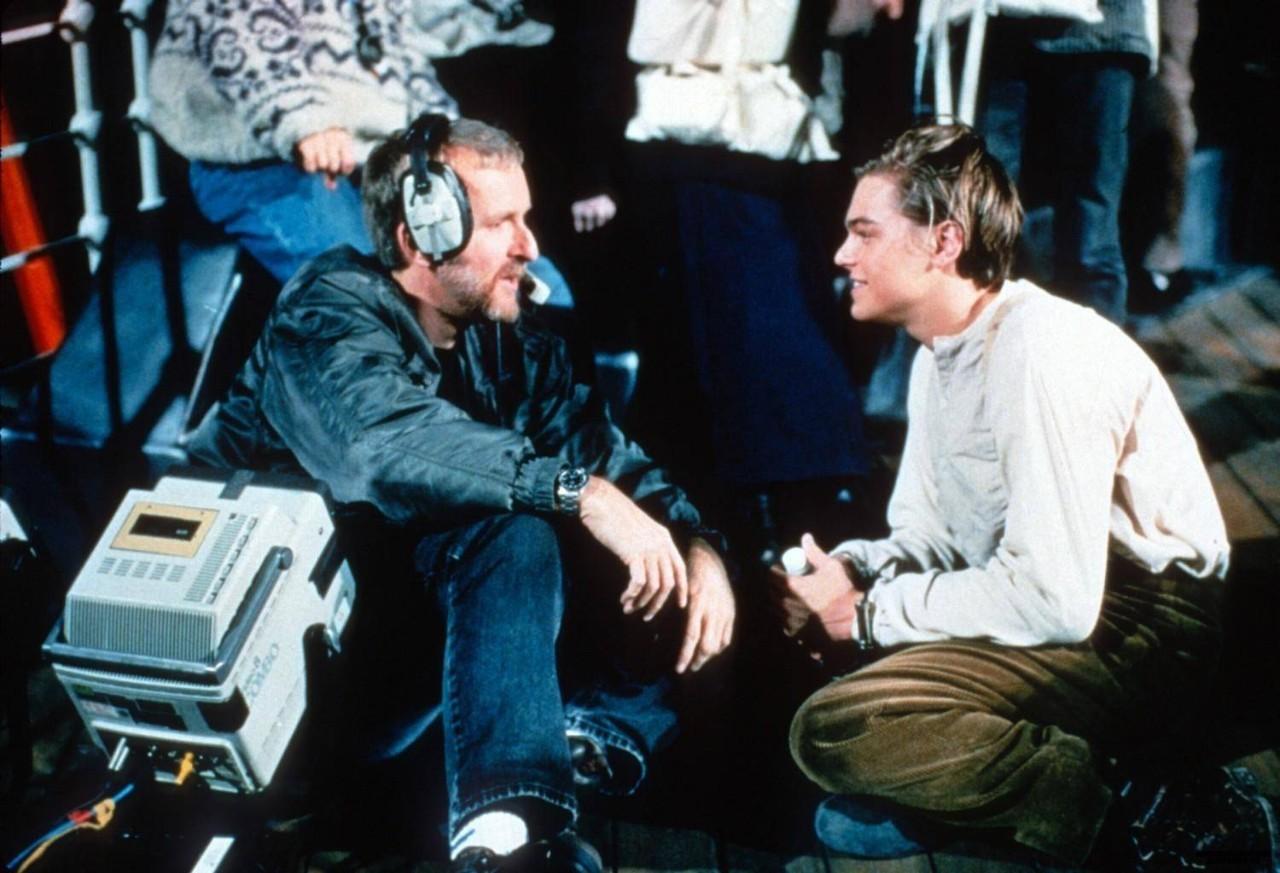 """Леонардо и Джеймс на съёмках """"Титаника""""."""