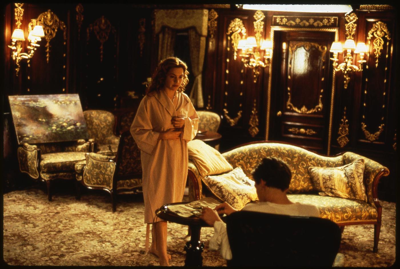 """Кейт Уинслет на репетиции первой сцены к """"Титанику""""."""