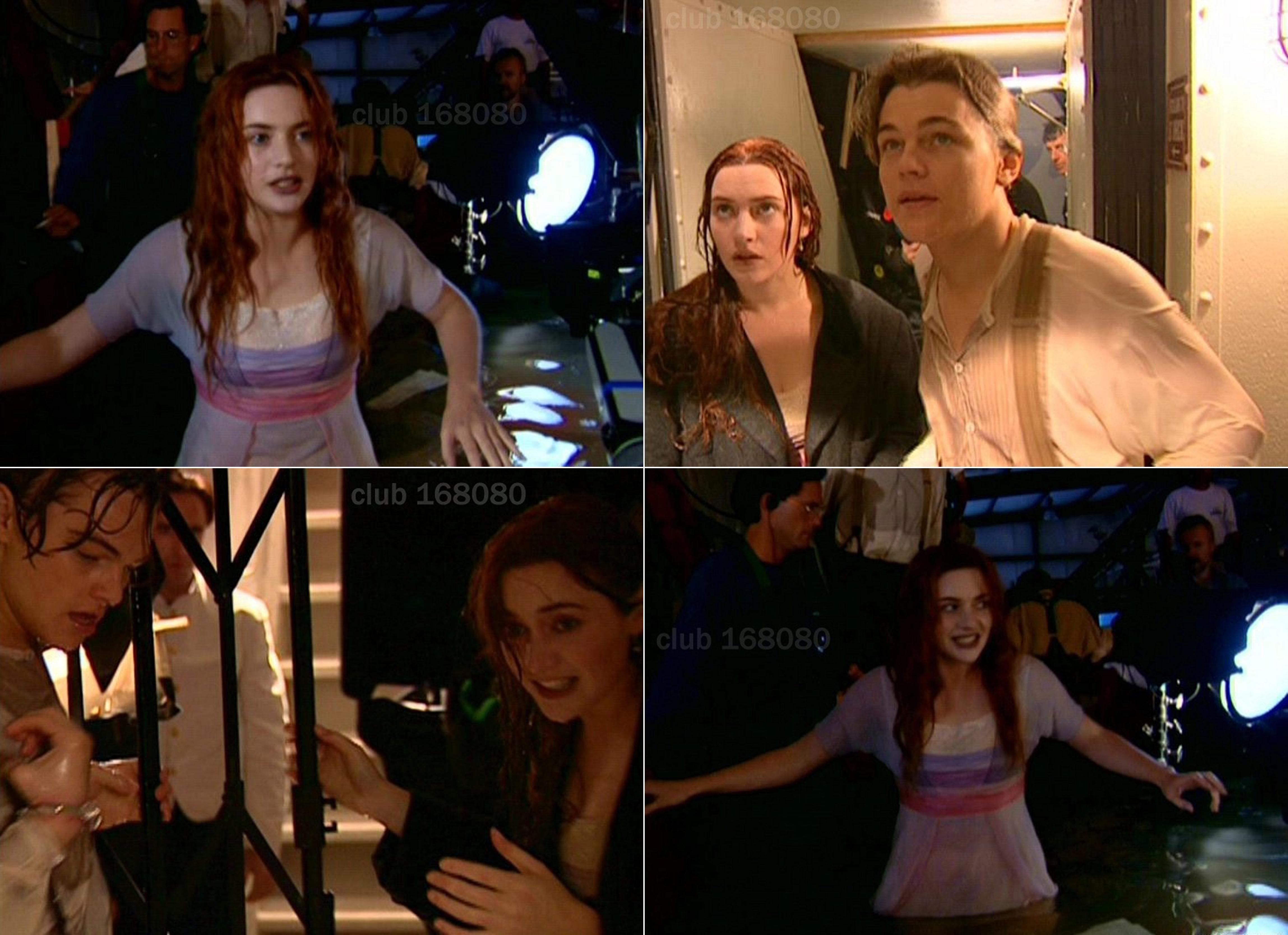 "Кейт и Лео в съёмках сцен внутри коридоров ""Титаника""."