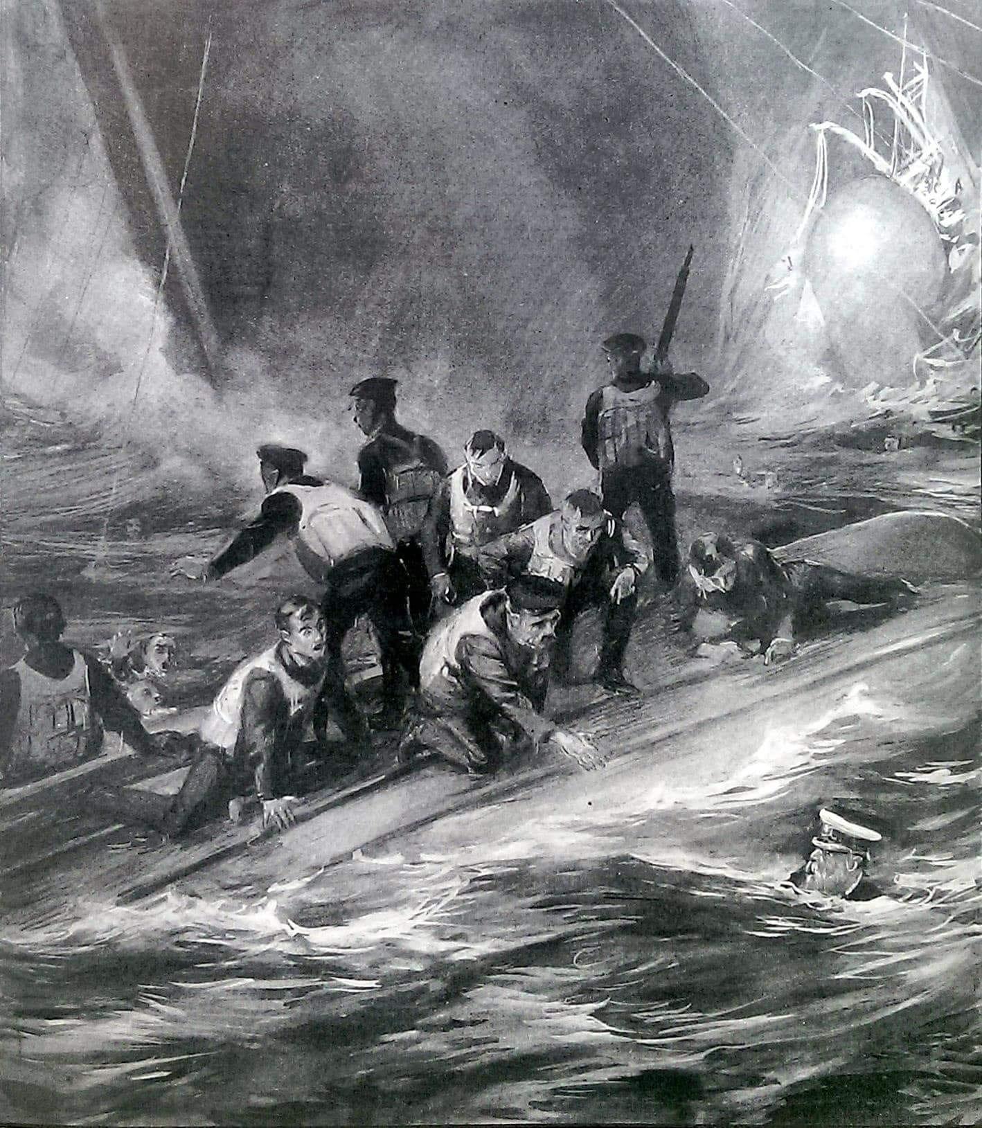 """""""Позаботьтесь о себе, ребята"""". Последние слова капитана Смита. Иллюстрация 1912 года Дугласа Макферсона, основанная на показаниях спасшегося повара Исаака Мэйнарда."""
