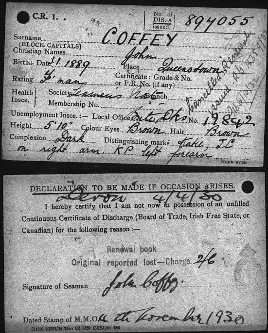 Удостоверение моряка Джона Коффи с личными данными. Photo (c) Mike Poirier