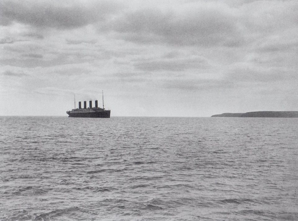 1.30 a.m - With the portside sounding spar extended and in use to calculate the depth of the water, Titanic slows down as she enters the waters of Queenstown off Roches Point