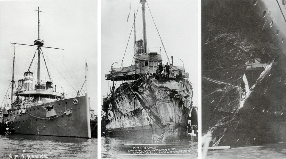 Before & After comparison of the Royal Navy Edger-Class cruiser H.M.S. Hawke which on the 20th September 1911 tried to cross Olympic's stern